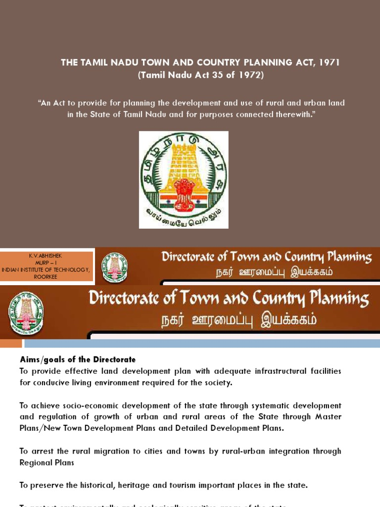 The Tamil Nadu Town & Country Planning Act,1971   Public