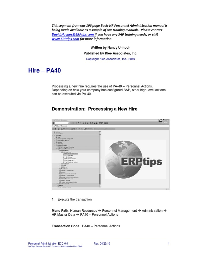 ERPtips SAP Training Manual SAMPLE CHAPTER From Personnel Administration |  Human Resource Management | Sap Se