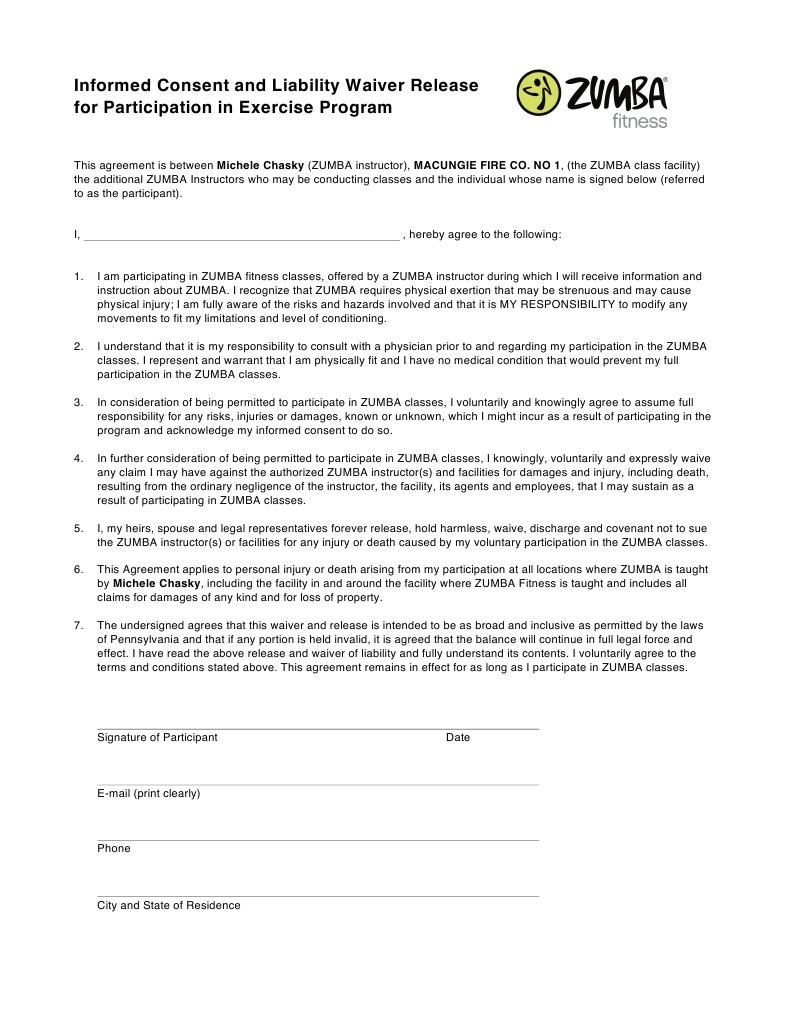 Fire Co Waiver Consent Damages