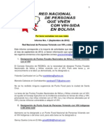 Informe Nro 1 de la Red Nacional de Personas Viviendo con el VIH y sida en Bolivia (REDBOL) Septiembre de 2012