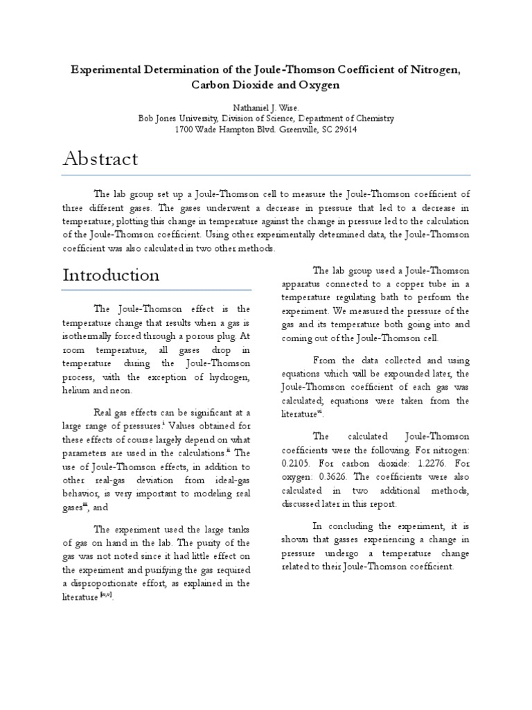 Experimental Determination of the Joule-Thomson Coefficient