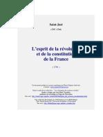 1791. Saint-Just - L'esprit de la révolution et de la constitution de la France