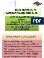 Industrial Training at Masray Plastik Sdn Bhd