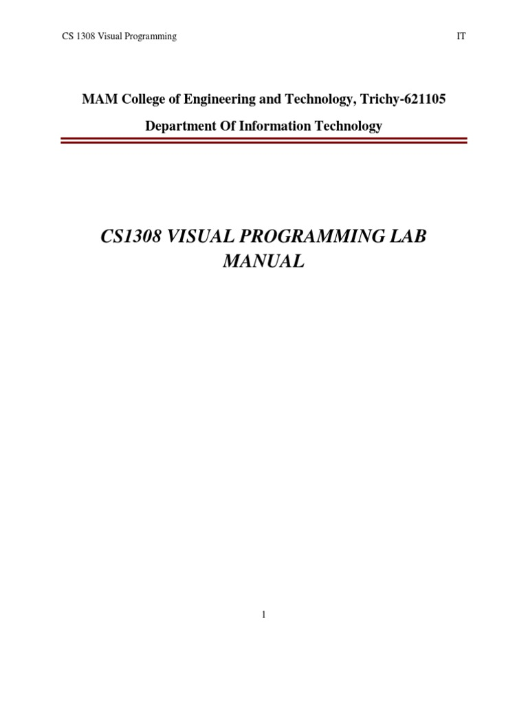 visual programming lab manual class computer programming rh scribd com visual programming lab manual for bca visual programming lab manual for bca bangalore university