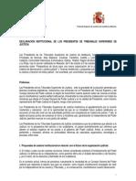 DECLARACIÓN INSTITUCIONAL DE LOS PRESIDENTES DE TRIBUNALES SUPERIORES DE JUSTICIA