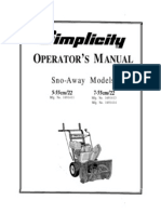 Simplicity Owners Manual Snow- Away Models 5-55/22 and 7-55/22