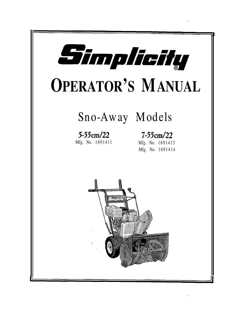 Simplicity Owners Manual Snow- Away Models 5-55/22 and 7