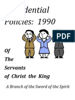 Confidential Policies of the Servants of Christ the King, June 1990
