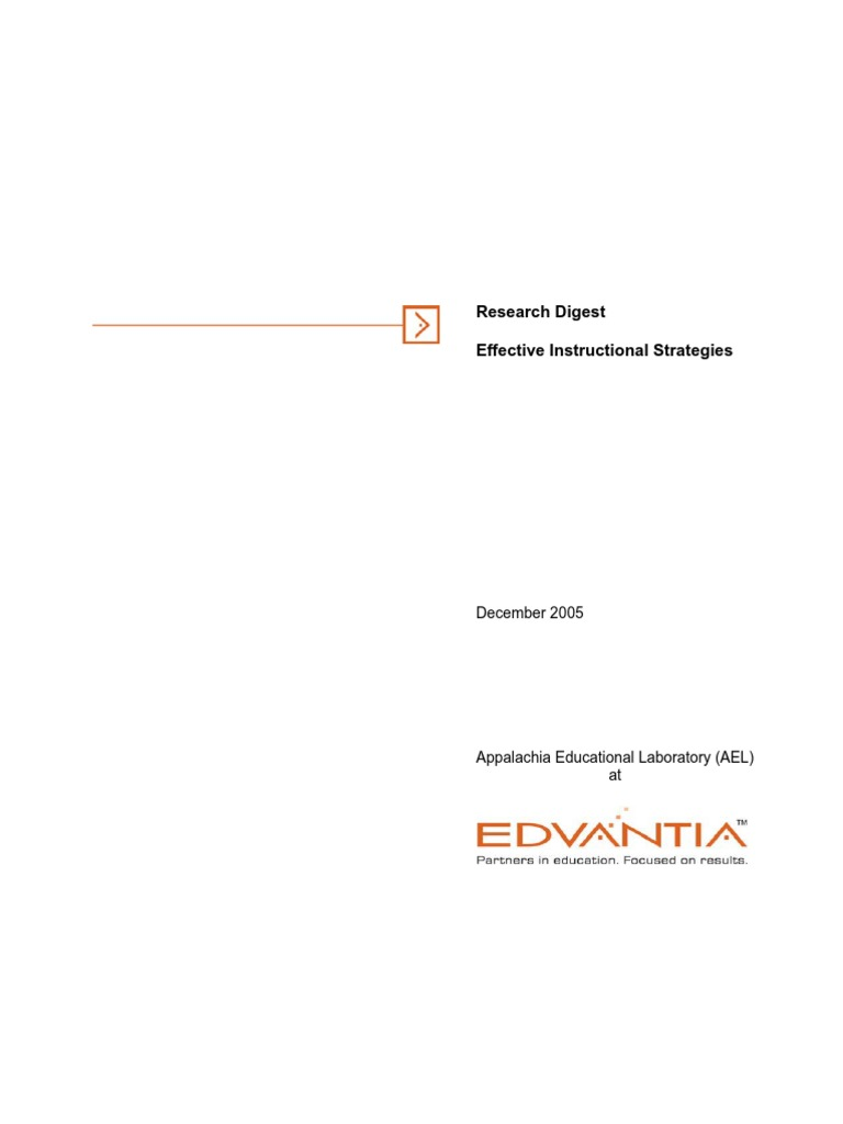 Effective Instructional Strategies Edvantia Metacognition