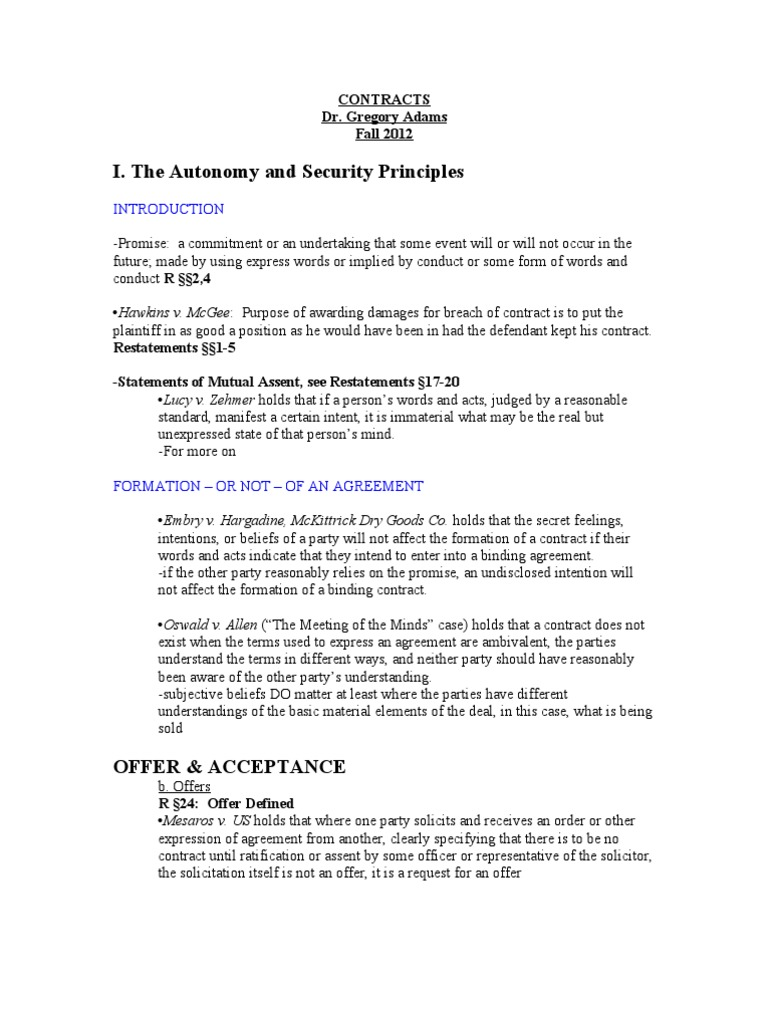 Adams Contracts Fall 2011 Offer And Acceptance Damages