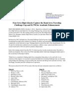 Four Iowa High Schools Win Bank Iowa Traveling Challenge Cup News Release 2012