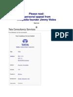 History of Tcs Company