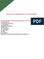 Funciones y Destrezas de Un Emprendedor y de UNA ORGANIZACION