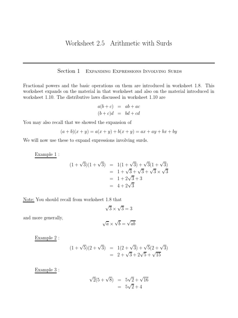Surds Worksheet Fraction Mathematics Arithmetic