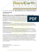 US Rare Earth Minerals, Inc. - 3/28/2012 Boventures appointed as Investor Relations