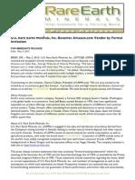 US Rare Earth Minerals, Inc. - 5/3/2012 Press Release