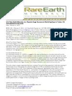 US Rare Earth Minerals, Inc. - 2/14/2012 Press Release