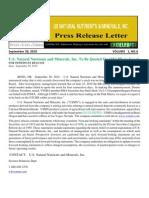US Rare Earth Minerals, Inc. - USREM Press Release 09-20-2010