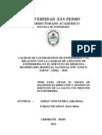 CALIDAD DE LOS REGISTROS DE ENFERMERÍA Y SU RELACIÓN CON LA CALIDAD DE ATENCIÓN DE ENFERMERÍA