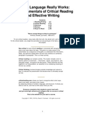 Critical Reading Thinking Process L Existence Precede Essence Dissertation