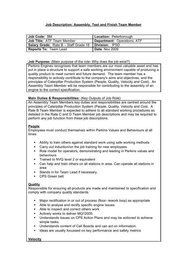 nvq unit 1 job description