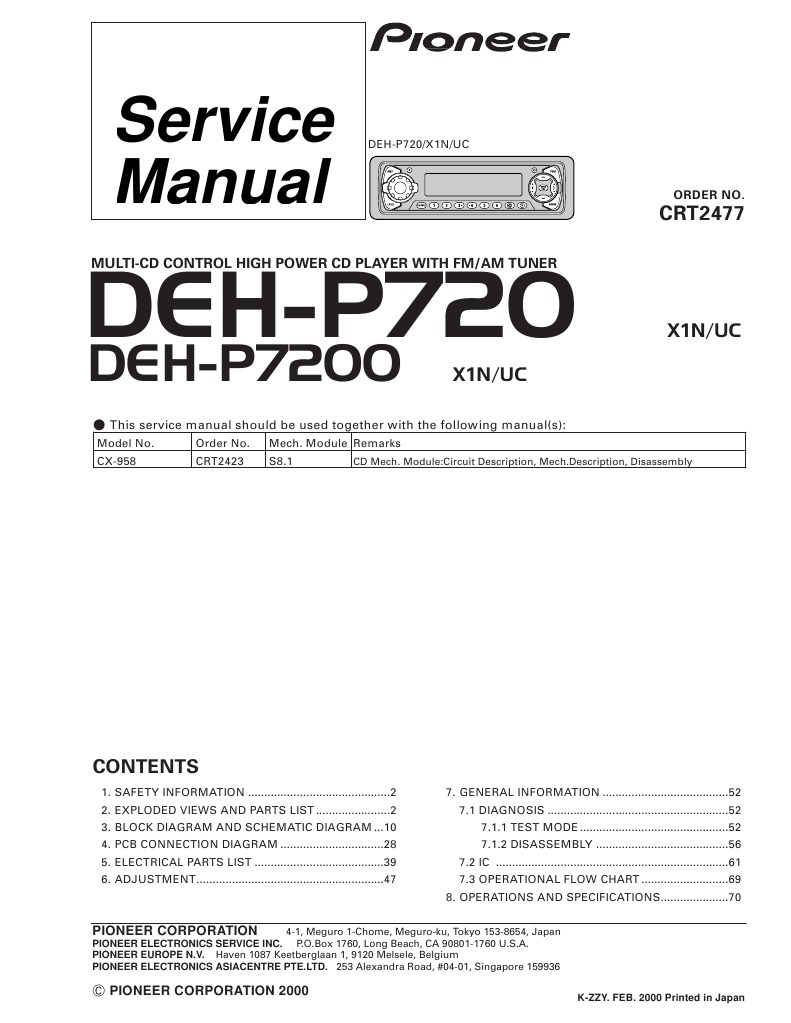 Pioneer Deh P7200 Wiring Diagram Blog About Diagrams Cd Dehp7200uc Sm En Electronic Filter Electrical Connector P4000ub