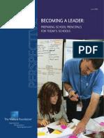Becoming a Leader Preparing Principals for Todays Schools