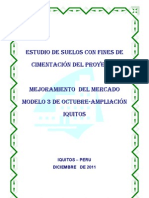 Estudio de Suelos Con Fines de Cimentacion MERCADO IQUITOS