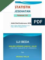 Statistik Keshtn- Uji Beda Anova 1 Jln + Uji Beda Non Par - Kruscal w - 6 Okt 2012