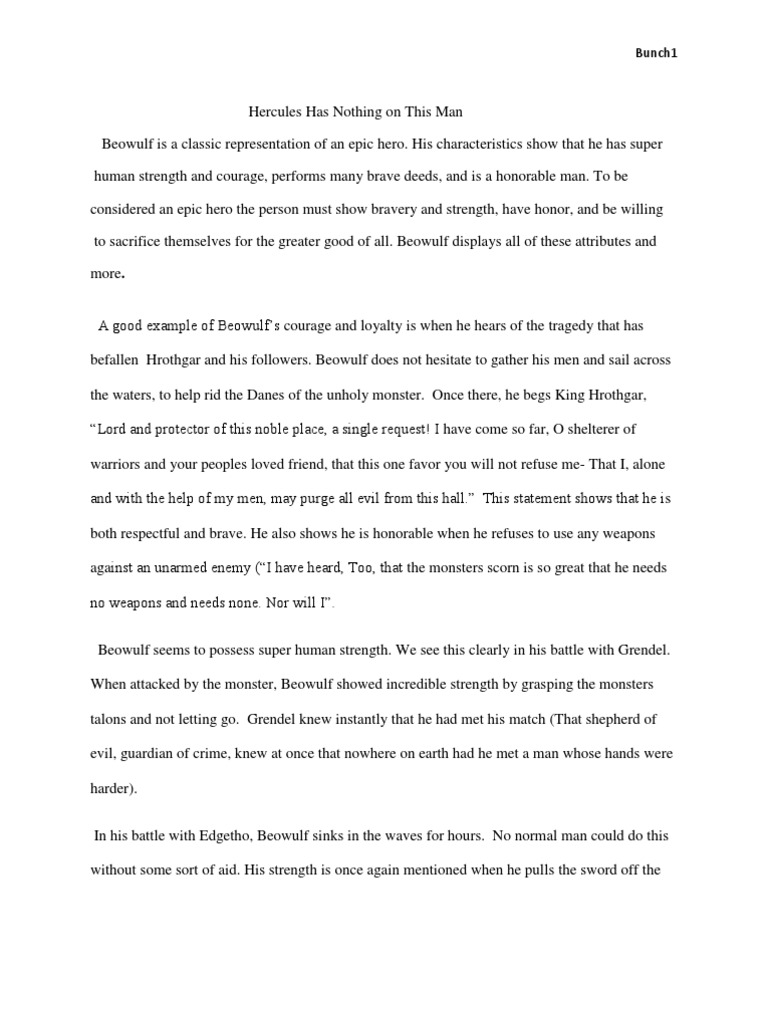 An analysis of beowulf as an epic hero essay