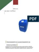 PROCEDIMIENTO DE ALMACENAMIENTO DE ÁCIDO SULFÚRICO