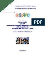 Metodologie Mobilitati ERASMUS 2012 2013