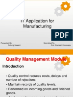 IT Appn in Manufacturing- Quality Mgmt. Module