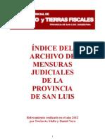 Indice Del Archivo de Mensuras Judiciales de La Provincia de San Luis