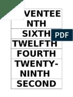 Plano Ordinal Numbers