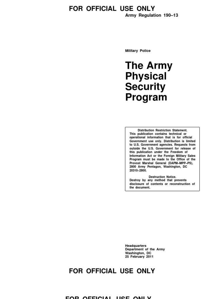 US Army Physical Security Program | United States Army | Physical ...