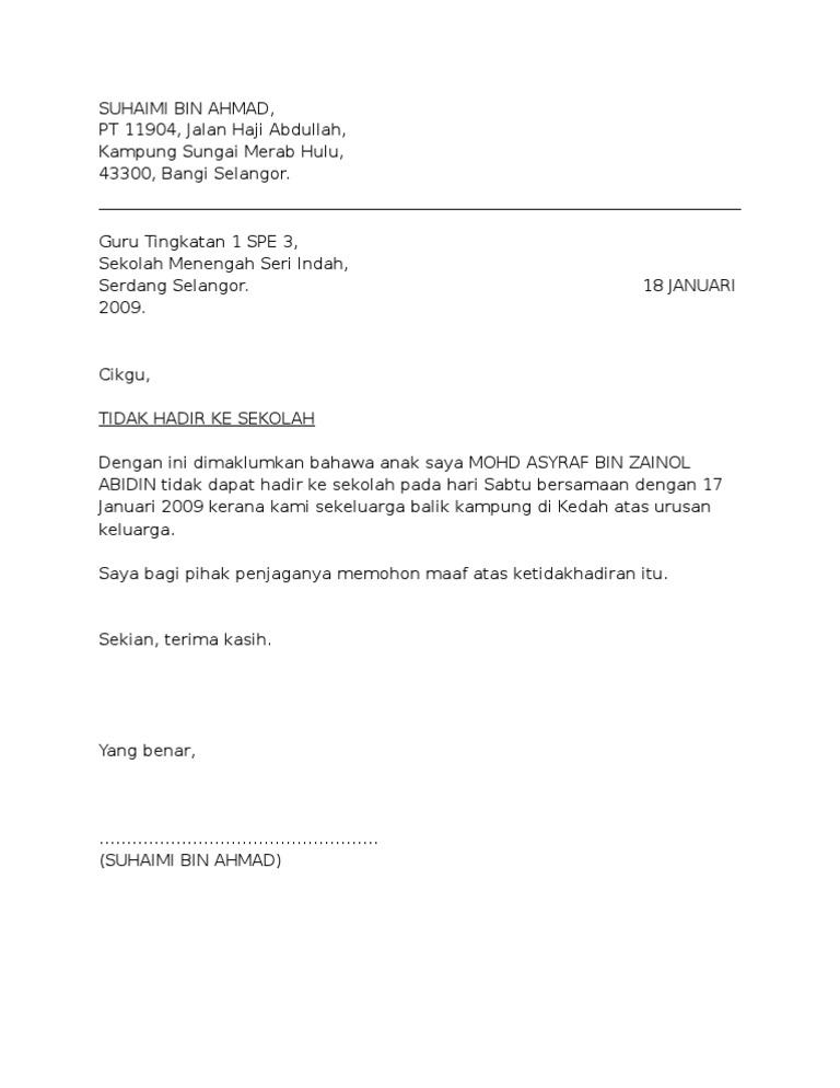 Contoh Surat Rasmi Cuti Sekolah Balik Kampung Feed News