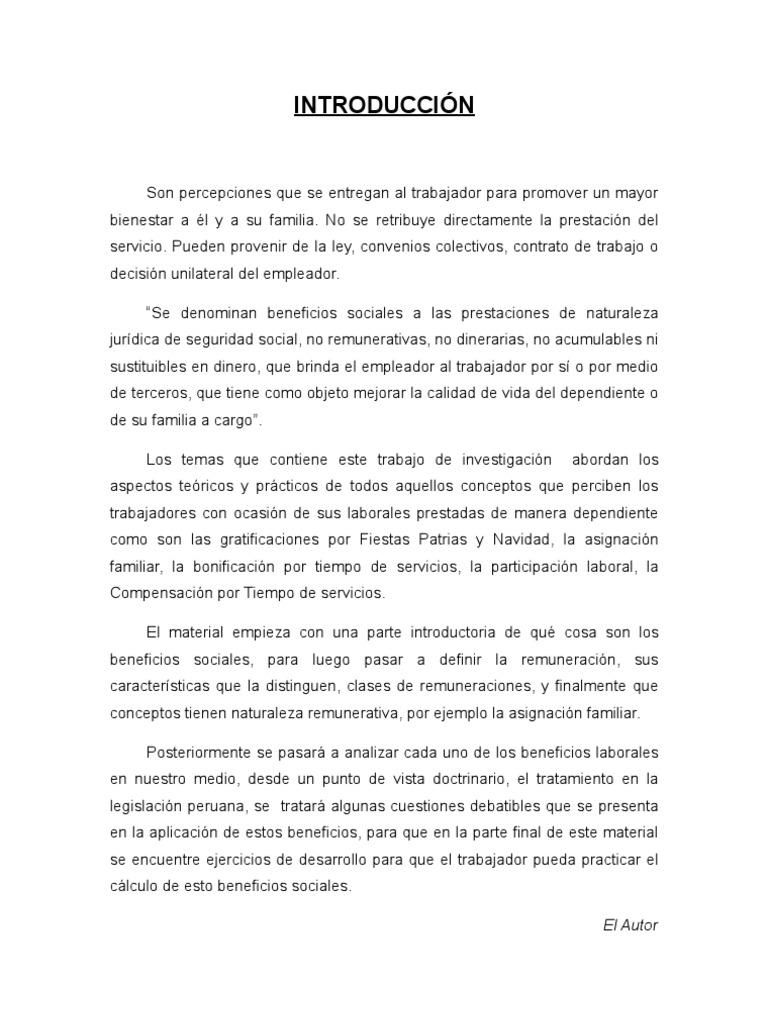 Beneficios Sociales En El Peru Cts Gratificaciones