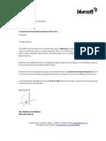 Carta Agradecimiento de Bluesoft a La Uniautonoma