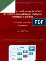 A produção secundária zooplanctônica no contexto da modelagem  ecológica - Incertezas e desafio