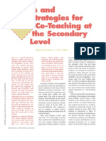 Tips and Strategies for Co Teaching at the Secondary Level