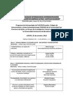 PROGRAMA COLOQUIO INTERNACIONAL INTERDISCIPLINARIO PENSANDO LO QUEER EN AMÉRICA LATINA