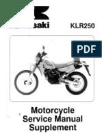 KLR 250 Supplement Manual