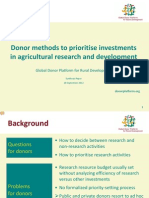 Donor methods to prioritise investments in agricultural research and development (summary)