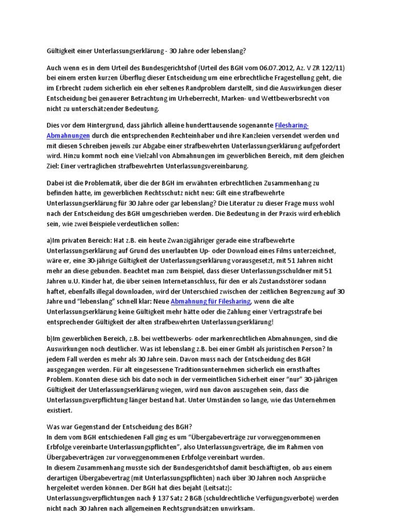 gltigkeit einer unterlassungserklrung - Strafbewehrte Unterlassungserklarung Muster