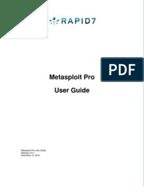 UserGuide Metasploit Pro | Areas Of Computer Science | Computer
