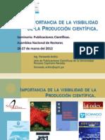1 ANR Importancia de la visibilidad de la Producción científica