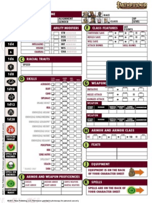 graphic relating to Pathfinder Character Sheets Printable titled Novice Box - Temperament Sheet