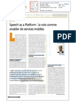 Speech as a Platform - La Voix Comme Enabler de Services Mobiles