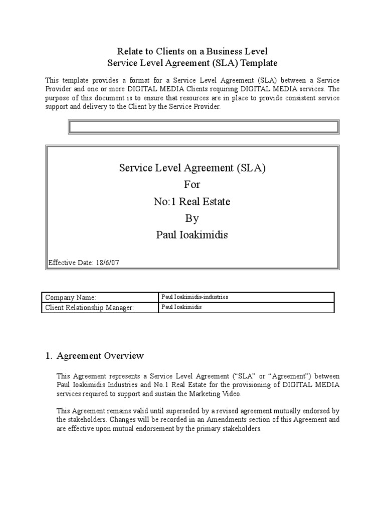 Service level agreement template service level agreement service level agreement template service level agreement business pronofoot35fo Image collections